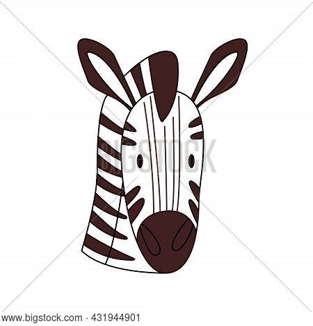 Cartoon Zebra Head Isolated. Colored Vector Illustration Of A Zebra Head With A Stroke On A White Ba