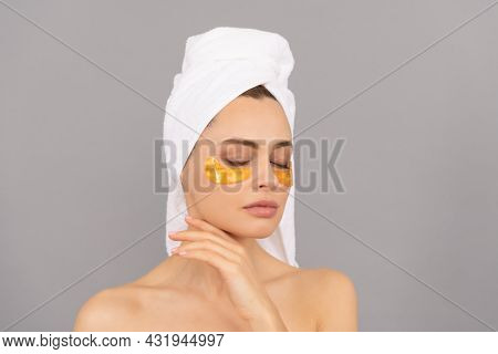 Let The Skin Breathe. Moisturizing Skin. Cosmetology. Young Woman In Terry Towel Use Patch.