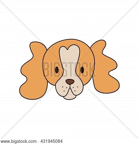 Cartoon Spaniel Dog Head Isolated. Colored Vector Illustration Of A Redhead Dogs Head With An Outlin