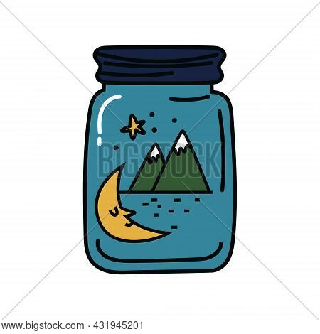 Glass Jar With Mountains Inside. Crescent Moon And Mountains On A Blue Background Inside A Closed Ja