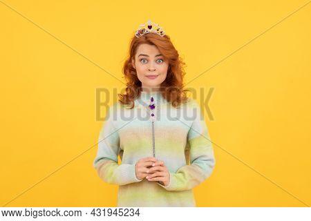 Amazed Woman Holding Magic Stick. Egoistic Girl Wear Diadem. Arrogance And Selfishness.