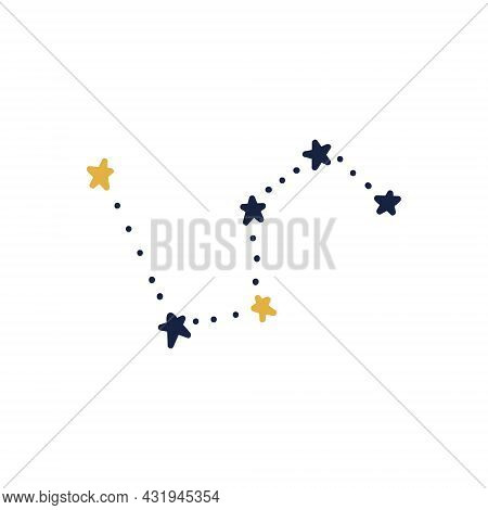 Hand-drawn Constellation. Blue Doodle Constellation With Yellow Stars. Vector Stock Illustration Of