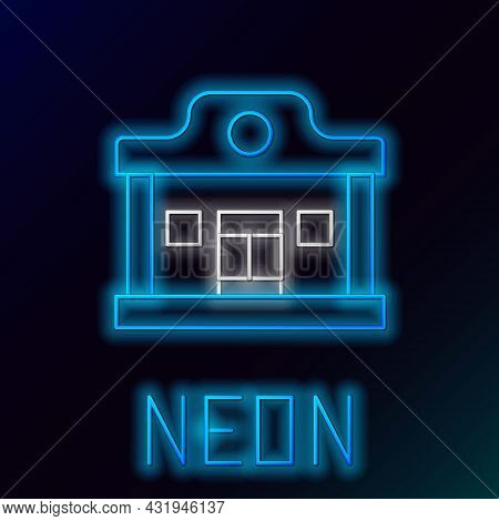 Glowing Neon Line Wild West Saloon Icon Isolated On Black Background. Old West Building. Colorful Ou