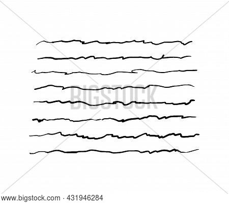Hand-drawn Lines. A Set Of Quivering Underlines. Vector Illustration Of Graphic Elements For Highlig