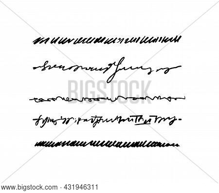 Abstract Text Underlines. A Set Of Hand-drawn Lines Like Text. Vector Stock Illustration Of Graphic