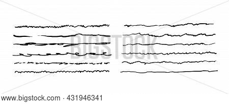 Hand-drawn Doodle Lines. A Set Of Quivering Underlines. Vector Illustration Of Graphic Elements For