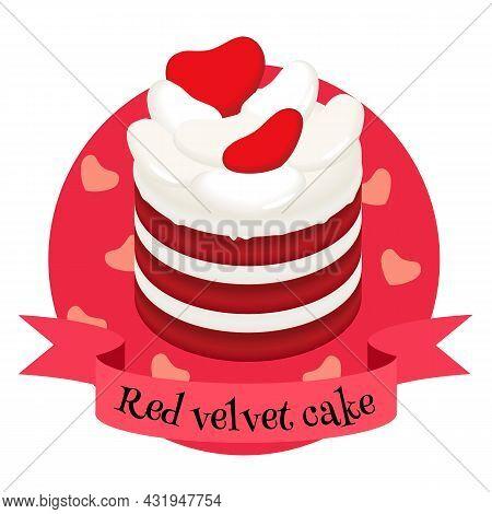 American Dessert Red Velvet Cake. Colorful Illustration For Cafe, Bakery, Restaurant Menu Or Logo, L