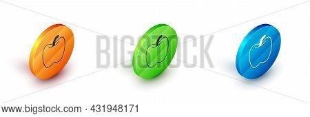 Isometric Apple Icon Isolated On White Background. Excess Weight. Healthy Diet Menu. Fitness Diet Ap