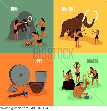 Prehistoric Stone Age Caveman Being Elements Tribe Hunting Tools And Crafts Flat 2x2 Images Set Vect