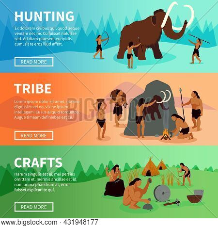 Prehistoric Stone Age Caveman Banners With Mammoth Hunting  Life Of Tribe And Primitive Crafts Flat