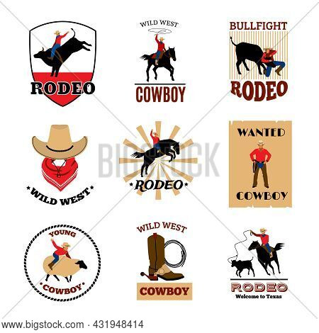 Cowboy Rodeo Games From Mustang Riding And Bullfighting To Lasso Usage Flat Emblems Set Isolated Vec