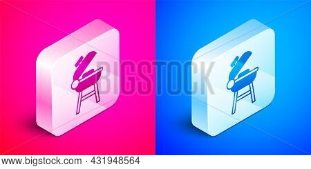 Isometric Barbecue Grill Icon Isolated On Pink And Blue Background. Bbq Grill Party. Silver Square B