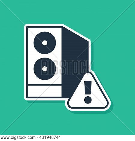 Blue Case Of Computer With Exclamation Mark Icon Isolated On Green Background. Computer Server. Work