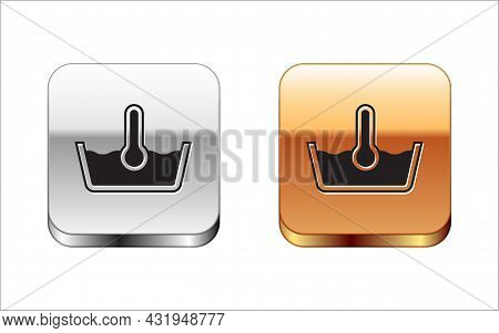 Black Temperature Wash Icon Isolated On White Background. Temperature Wash. Silver And Gold Square B
