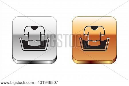 Black Plastic Basin With Shirt Icon Isolated On White Background. Bowl With Water. Washing Clothes,