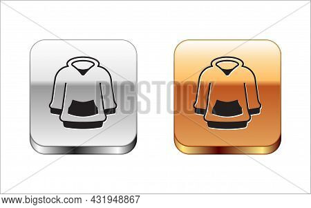 Black Hoodie Icon Isolated On White Background. Hooded Sweatshirt. Silver And Gold Square Buttons. V
