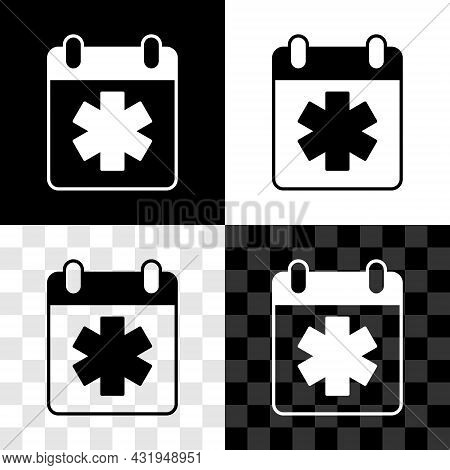 Set Doctor Appointment Icon Isolated On Black And White, Transparent Background. Calendar, Planning