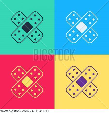 Pop Art Crossed Bandage Plaster Icon Isolated On Color Background. Medical Plaster, Adhesive Bandage