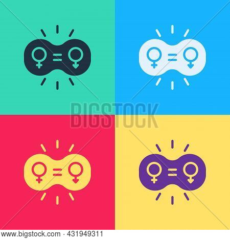 Pop Art Gender Equality Icon Isolated On Color Background. Equal Pay And Opportunity Business Concep