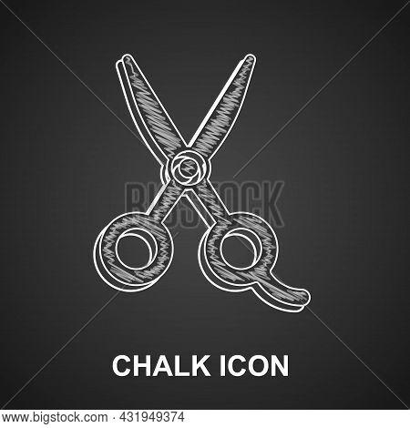 Chalk Scissors Hairdresser Icon Isolated On Black Background. Hairdresser, Fashion Salon And Barber