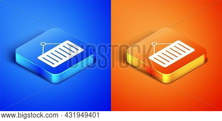 Isometric Container On Crane Icon Isolated On Blue And Orange Background. Crane Lifts A Container Wi
