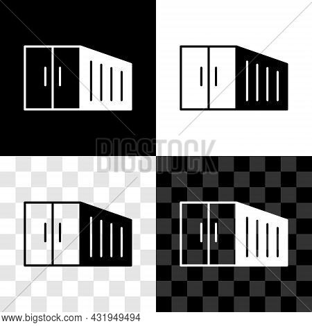 Set Container Icon Isolated On Black And White, Transparent Background. Crane Lifts A Container With