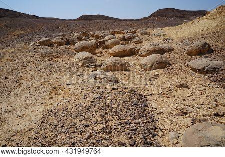 Unreally Spherical Rocks Concretions In Nahal Keidar Reserve, South Israel, Sunset Time, Twilight