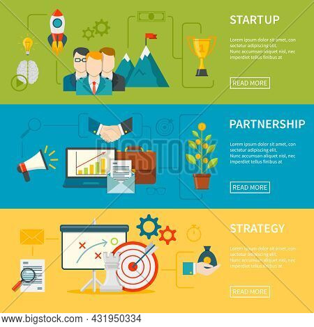 Entrepreneurship Flat Horizontal Banners Set Of Startup Strategy And Partnership Vector Illustration