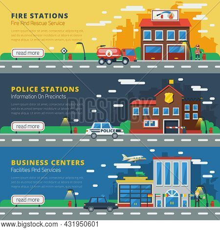 Government Buildings Horizontal Banners With Fire Stations Police Stations Business Centers Design C