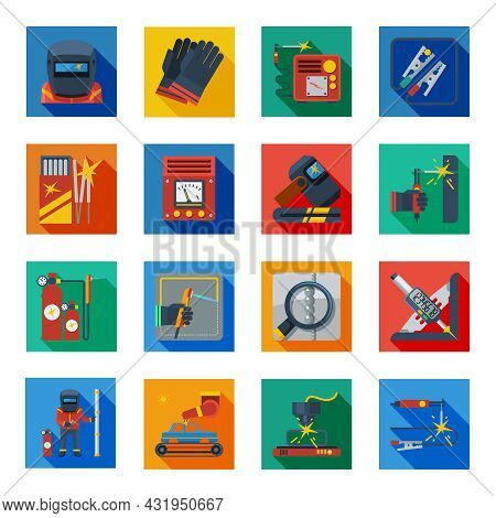 Welding Flat Icons In Colorful Squares With Welder Tools Protection Clothes And Measuring Instrument