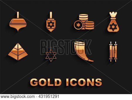 Set Star Of David Necklace On Chain, Jewish Money Bag With Star David, Torah Scroll, Traditional Ram