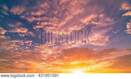 Dramatic Sunset Or Sunrise Sky Amazing Colorful Clouds In Twilight Beautiful Light Of Nature Landsca