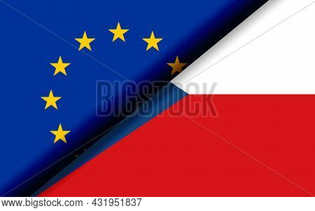 Flags Of The Eu And Czech Republic Divided Diagonally. 3d Rendering