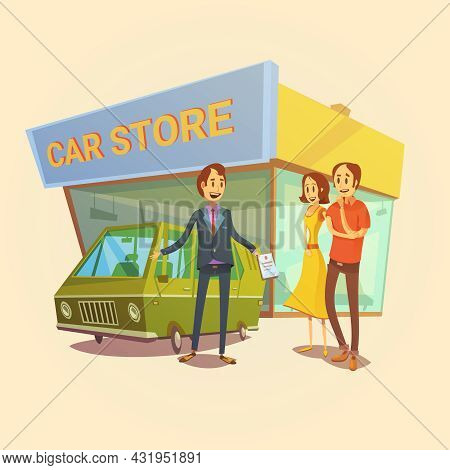 Car Dealer And Clients Cartoon Concept With Car Store Building Vector Illustration