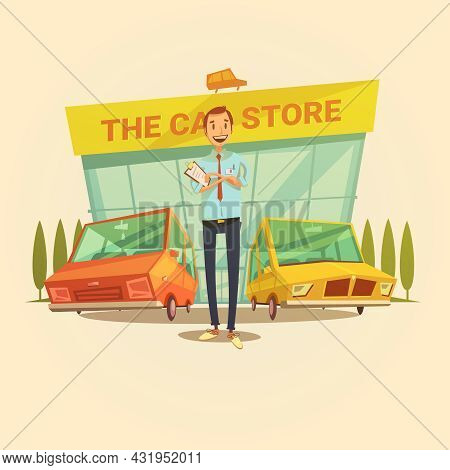 Car Dealer And Car Store Cartoon Concept With Different Types Of Cars Vector Illustration