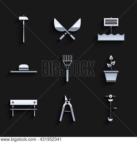 Set Garden Rake, Gardening Handmade Scissors, Grass Weed Electric String Trimmer, Plant Pot, Bench,