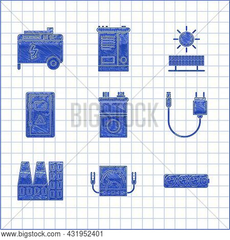Set Car Battery, Multimeter, Voltmeter, Electric Extension Cord, Charger, Power Station Plant And Fa