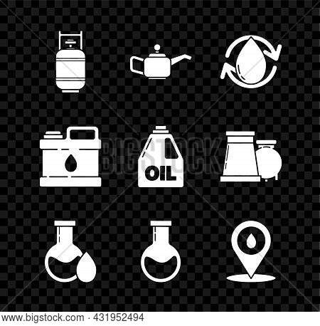 Set Propane Gas Tank, Canister For Motor Machine Oil, Oil Drop, Petrol Test Tube, Test And Flask, Re