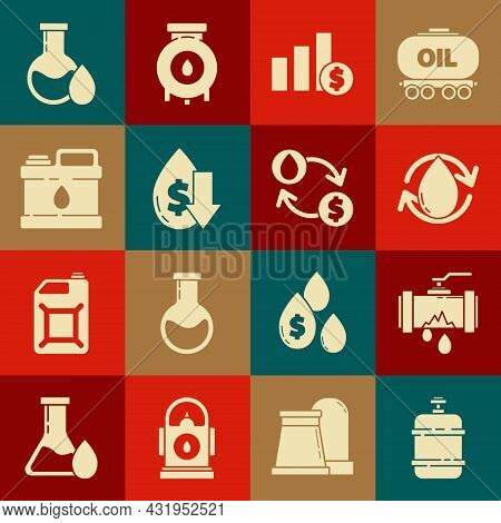 Set Propane Gas Tank, Oil Drop, Pie Chart Infographic And Dollar, Drop Crude Oil Price, Canister For