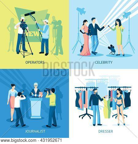 Pressman And Journalist Concept Icon Set  Interview Dresser Operator Vector Illustration