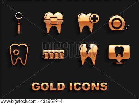 Set Dentures Model, Dental Floss, Clinic Location, Broken Tooth, Tooth With Caries, Inspection Mirro