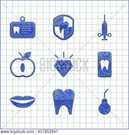 Set Diamond Teeth, Tooth, Enema Pear, Online Dental Care, Smiling Lips, Apple, Dental Medical Syring