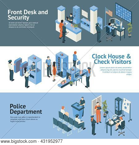 Police Department Horizontal Banners Set With Clock House And Check Visitors Symbols Isometric Isola