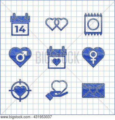 Set Calendar With Heart, Heart On Hand, Envelope Valentine, Female Gender, The Center Of Darts Targe