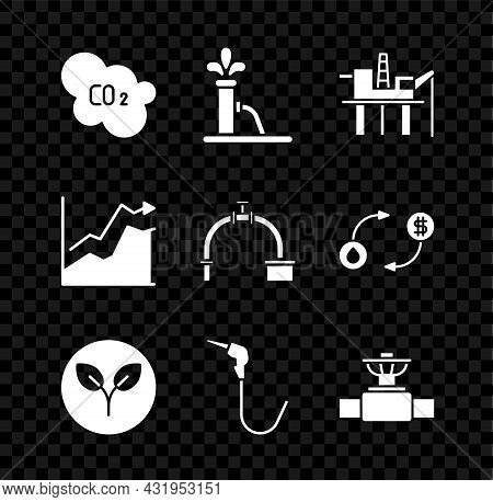Set Co2 Emissions In Cloud, Oil Pump Or Pump Jack, Platform The Sea, Bio Fuel, Gasoline Nozzle, Indu