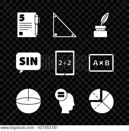 Set Test Or Exam Sheet And Pen, Triangle Math, Feather Inkwell, Geometric Figure Sphere, Calculation