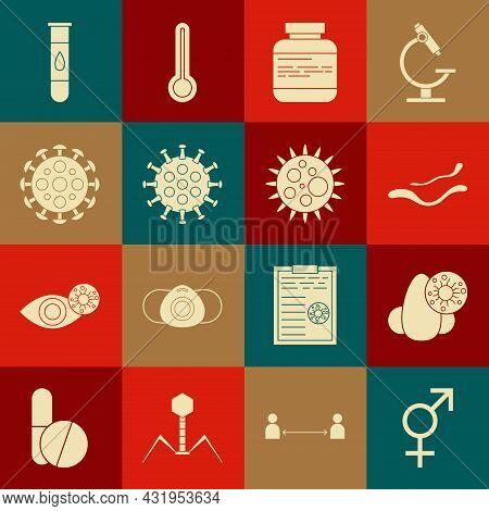 Set Gender, Runny Nose And Virus, Ebola Disease, Medicine Bottle Pills, Virus, Blood Test And Icon.