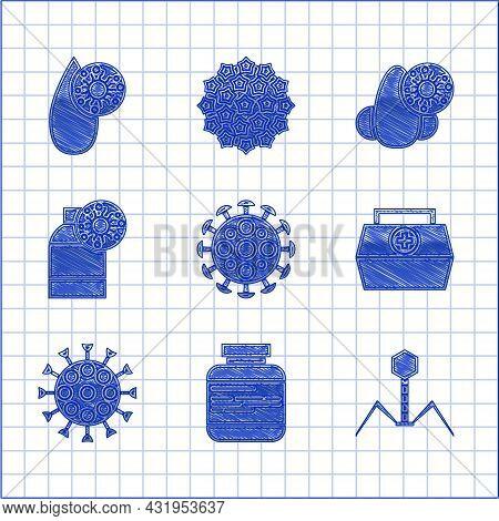 Set Virus, Medicine Bottle And Pills, Bacteria Bacteriophage, First Aid Kit, Bottle With Virus, Runn