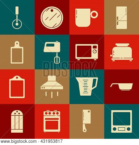 Set Electronic Scales, Frying Pan, Toaster, Coffee Cup, Electric Mixer, Cutting Board, Pizza Knife A