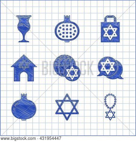Set World Globe And Israel, Star Of David, Necklace On Chain, Pomegranate, Jewish Synagogue, Shoppin